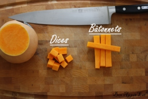 Chopping board with butternut squash cut and a chef knife.basic vegetable main cut