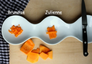 Wavy plate with brunoise and julienne cut of butternut squash, basic vegetable main cut